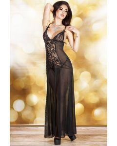 Long black lingerie nightdress