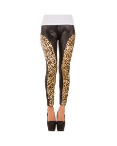 Leggings with leopard patterned front